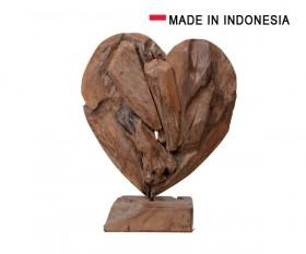 Heart Teak Wood On Stand